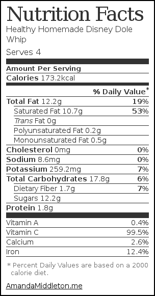 Nutrition label for Healthy Homemade Disney Dole Whip