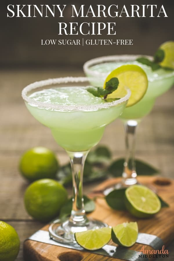 This skinny margarita recipe is made with fresh ingredients, has gluten-free alcohol, and has less sugar! Enjoy and relax with this gluten-free, skinny margarita. #AmandaMiddleton #skinnymargarita #glutenfree #drinkresponsibly