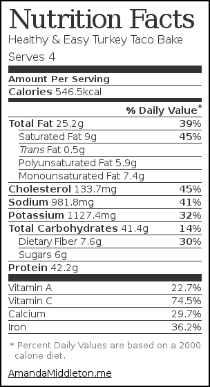 Nutrition label for Healthy & Easy Turkey Taco Bake