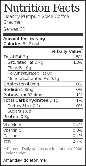 Nutrition label for Healthy Pumpkin Spice Coffee Creamer