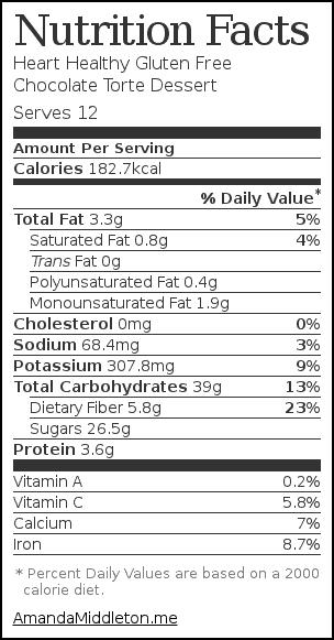 Nutrition label for Heart Healthy Gluten Free Chocolate Torte Dessert