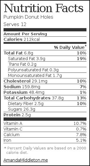 Nutrition label for Pumpkin Donut Holes