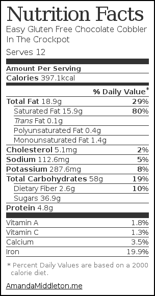 Nutrition label for Easy Gluten Free Chocolate Cobbler In The Crockpot