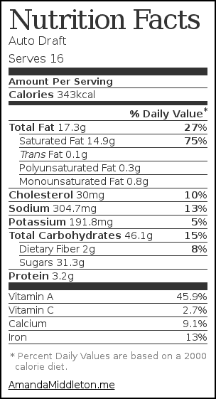 Nutrition label for Slow Cooker Gluten Free Pumpkin Cobbler Recipe